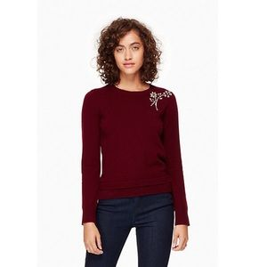 NWT Kate Spade Embellished Brooch Sweater Small